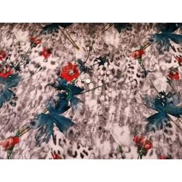 fleurs suedine bleu