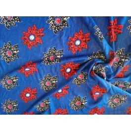 Rayonne bleu fleurs strass