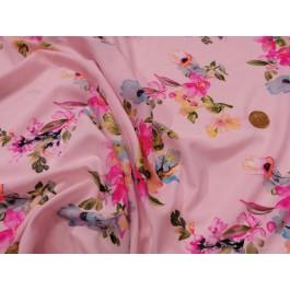 Poly-viscose fleurie fond rose