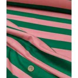 Jersey polo rayé rose/vert