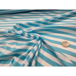 Jersey rayé blanc/turquoise