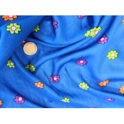 Rayonne fleurs fond bleu